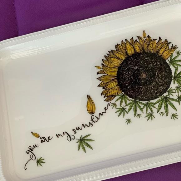 Metal Rolling Tray 420 Art Cannabis Flower Sunflower Petals \u201cYou are my Sunshine\u201d 4:20